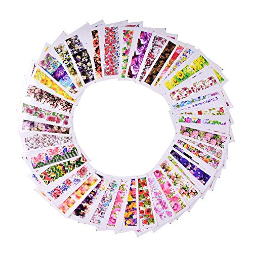 48pc/set Water Transfer Flower Decals Manicure Nail Art Stickers Tips Decoration