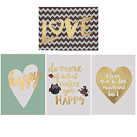 Decor Hut Set of 4 streched canvas, love, happy, cute quotes! soft colors to match any room! (White And Gold Shelves)