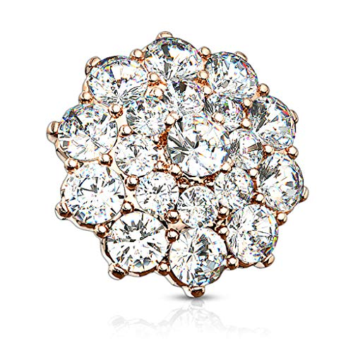 Fifth Cue 14G CZ Paved Double Tier Round CZ Flower 316L Surgical Steel Internally Threaded Dermal Anchor Top (Rose Gold/Clear) ()