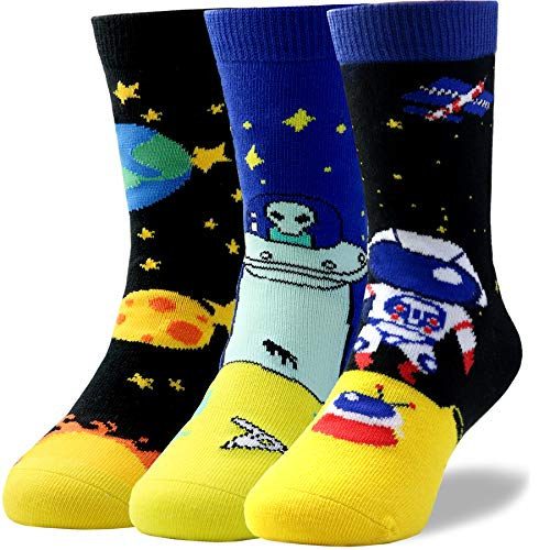 - Kids Toddlers Fun Novelty Colorful Cartoon Non Skid Combed Cotton Crew Socks for Little Boys Pack of 3