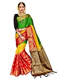 ELINA FASHION Sarees for Women Banarasi Art Silk Woven Work Saree l Indian Wedding Ethnic Sari & Blouse Piece (Multi 1)