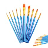SinHan 10Pieces Round Pointed Tip Nylon Hair Brush,Artist Paint Brushes Set for Watercolor Oil Acrylic Painting Blue,Picture Brush