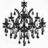 Cheap JET BLACK CHANDELIER CRYSTAL LIGHTING 30X28
