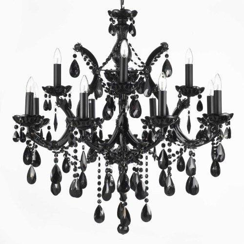 JET BLACK CHANDELIER CRYSTAL LIGHTING 30X28