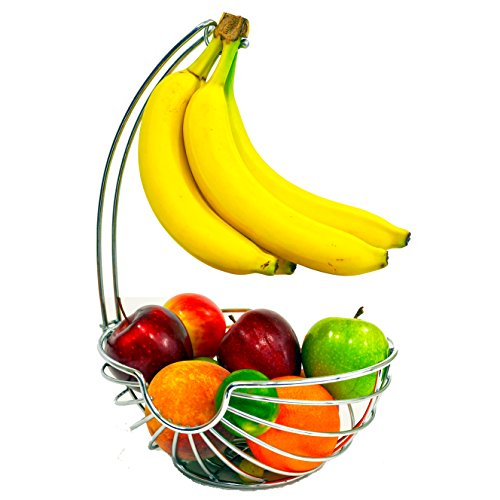 Superiore Livello Chrome Fruit Basket with Banana Hanger, Elegant and Decorative Fruit Bowl with Banana Hook. (Contemporary Fruit Basket)