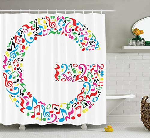 Alphabet Notes - Ambesonne Letter G Shower Curtain, Majuscule G and Music Inspired Theme Colorful Musical Notes Alphabet Artwork Print, Cloth Fabric Bathroom Decor Set with Hooks, 70