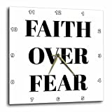 3dRose Xander inspirational quotes - Faith over fear, black letters on a white background - 13x13 Wall Clock (dpp_265911_2)