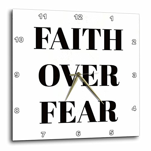3dRose Xander inspirational quotes - Faith over fear, black letters on a white background - 13x13 Wall Clock (dpp_265911_2) by 3dRose