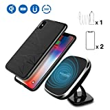 Car Magnetic Wireless Charger,Nillkin 2-in-1 Car Mount Qi Charging Pad,[Slim Magnetic Phone Case][Car Charger Adapter][Screen Protector],Gift Set Electronic Kit for iPhone X