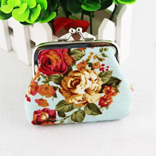 Wallet Purse Hasp Women Light Retro Vintage SMTSMT Blue Small Flower 7gpxWqw