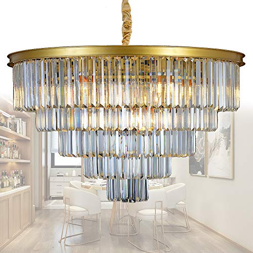 MEELIGHTING Gold Modern Crystal Chandelier Lights Pendant Ceiling Light Vintage Contemporary Chandeliers Lighting Fixture Big (5-Tier 16Lights) for Dining Living Room Kitchen Island Bedroom W32""
