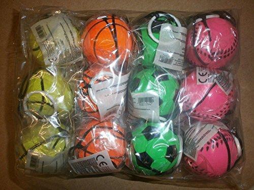 12 Stück Retro Springball an Gummiband, Flummi an Schnur, Fußball, Tennisball, Basketball und Baseball, farbig an Schnur Fußball Landahl & Baumann