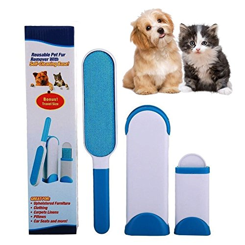 Pet Fur Lint Remover Hair Brush with Self-Cleaning Base Dog Cat Pets Removes From Clothing, Furniture, Couch, Carpet, Car Seat