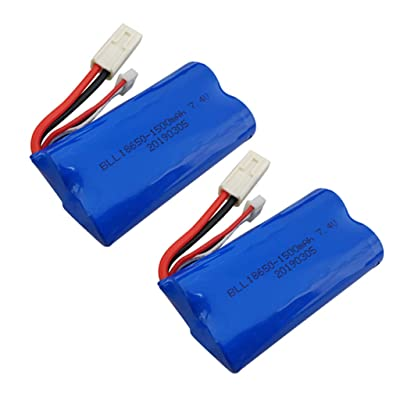sea jump 2PCS 7.4V 1500mAh Lithium Battery for feilun FT009 Remote Control Boat Spare Parts High Speed Speedboat Battery: Toys & Games