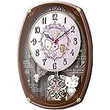 リズム時計工業 SANRIO サンリオ からくり電波壁掛け時計 ハローキティ メロディー スワロフスキー ピンク 白 アナログ
