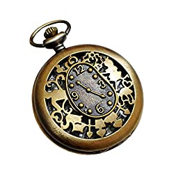 Alice in Wonderland Pocket Watch Necklace - Vintage Style Alice Backwards Clock Pendant - Steampunk Brass White Rabbit Charm Pocket Watch