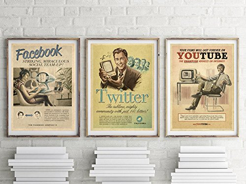 Retro Print Ads - Vintage Print Set, Geek Print Set, Gift for Geek, Vintage Ads, Facebook, Twitter, Youtube, Retro Art, Retro Print Set, Retro Decor, Wall Art, Facebook Wall Decor, Twitter Wall Art