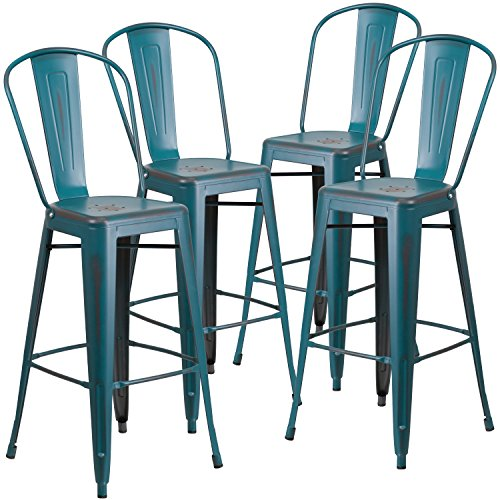 Flash Furniture 4 Pk. 30'' High Distressed Kelly Blue-Teal Metal Indoor-Outdoor Barstool with Back