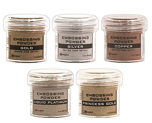 Ranger - Heat Embossing Powder for Cardmaking - Metallic - Gold, Silver, Platinum, Copper & Princess Gold - 5 Item Bundle by Ranger