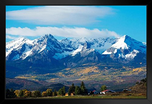 Snow Covered Rocky Mountains Rural Landscape Photo Art Print Framed Poster 20x14 inch