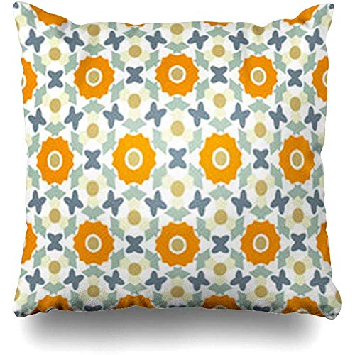 Throw Pillow Cover Simplicity Graphic Floral Pink Flowers Perfect Tile Geometric for Abstract Gray Flower Pillowcase Square Size 18 x 18 Inches Home Sofa Cushion Decor Case