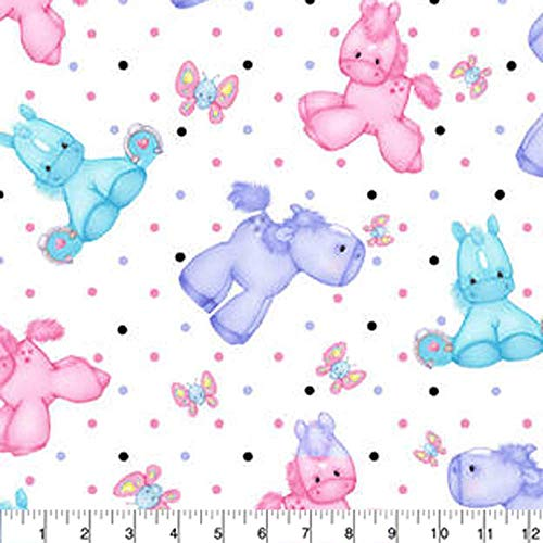 (A.E. Nathan Comfy Flannel Print Ponies White Fabric Fabric by the Yard)