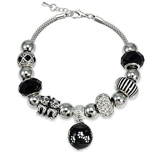 Enchanted Evening Jewelry - Bria Lou Silver Flashed Black & Clear Crystal & Glass Enchanted Cats Bead Charm Snake Chain Bracelet, 7.5+3