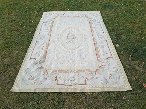 (Chic Eclectic Floor Kilim Rug, Original Handmade Decorative French Aubusson Carpet, Needlepoint Flat Weave Tapestry 5'9'' X 9' (175 x 275)