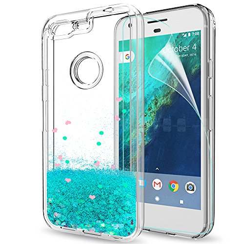 Google Pixel Case with Tempered Glass Screen Protector [2 Pack] for Girls Women,LeYi Glitter Shiny Bling Sparkle Liquid Clear TPU Bumper Protective Phone Case for Google Pixel 2016 ZX Rose Gold