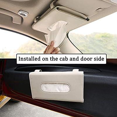 Fredyusu 2 Pack Car Visor Tissue Holder, Leather Napkin Cover, Paper Tissue Dispenser for Visor & Backseat, Vehicle(Beige): Automotive