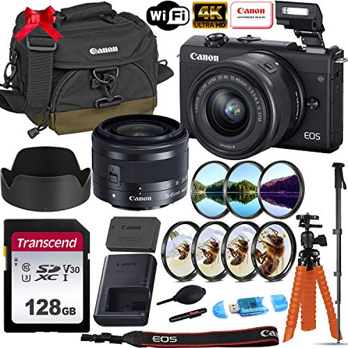 Canon EOS M200 Mirrorless Digital Camera 4K with 15-45mm f/3.5-6.3 is STM Lens (Black) + Accessory Photo Bundle: 128GB Memory, Canon Gadget Bag 100EG, Spider Tripod, Monopod & More