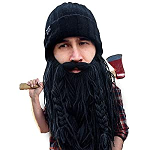 251f5ef830f Beard Head Barbarian Roadie Beard Beanie – Funny Knit Hat w Fake Beard  Facemask