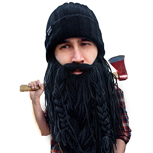 Beard Head Barbarian Roadie Beard Beanie -Funny Knit Hat and Fake Beard Facemask Black -