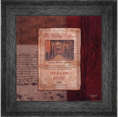 Framed Merlot Wine Label- 8x8 Inches - Art Print (Black Barnwood Frame) (Label Wine Framed)