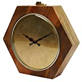Yosemite Home Decor CLKSI2297Q Accent Clock Wood Frame, Gold Face, Gold Text, Black Hands