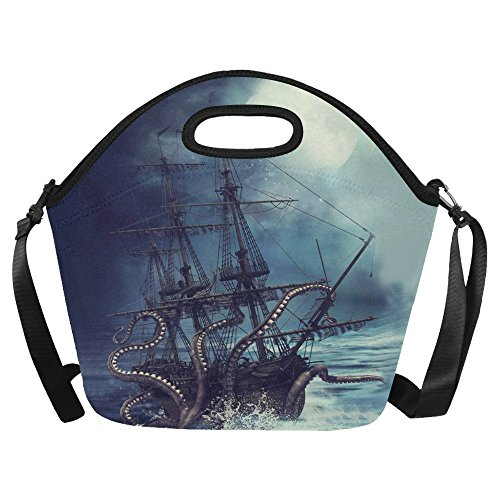 InterestPrint Ocean Sail Pirate Ship Large Reusable Insulated Neoprene Lunch Tote Bag Cooler 15.04