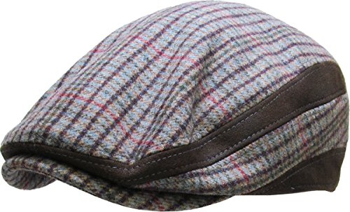 311 Brown Color Large//X-Large Size Hat Mens Cabbie Newsboy and Ascot Plaid Ivy Button Hat Cap