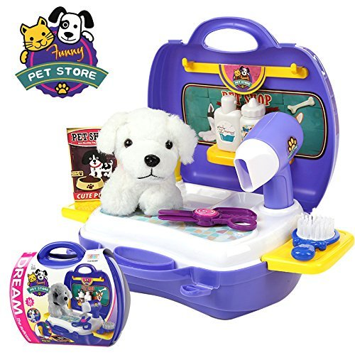 Pretend Educational Toys for Toddlers, Children Tool Box Pet Store Puppy Grooming Playset 16 Pcs with Carrier (Pet)