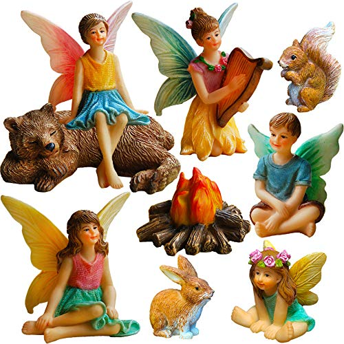 Mood Lab Fairy Garden - Miniature Fairies Figurines Accessories - Camping Kit of 9 pcs - Set for Outdoor or House Decor (Figurines Small Fairy)