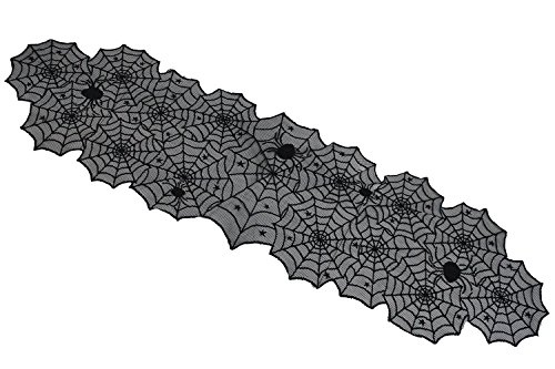 Shinybaby Black Lace Tablecloth Overlay with Spider Web and Mat for Halloween Party ,Fireplace and Mantle Cover Decoration