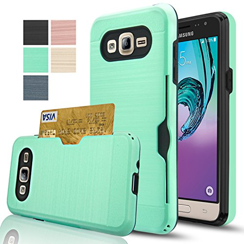 Price comparison product image Galaxy J3 Case, Galaxy Sky / J3 V / Amp Prime / Express Prime / Sol Wallet Case With HD Screen Protector, AnoKe[Card Slots Holder] Plastic TPU Hybrid Case For Samsung Galaxy J3 KC2 Mint
