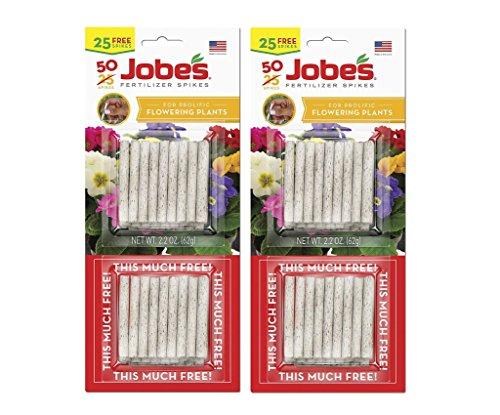 Plant Flowering Food (Jobe's 10-10-4 Fertilizer Spikes for Flowering Plants, Houseplant Indoor, Outdoor Plants Fertilizer Food Spikes, 50 Spikes (Pack of 2))
