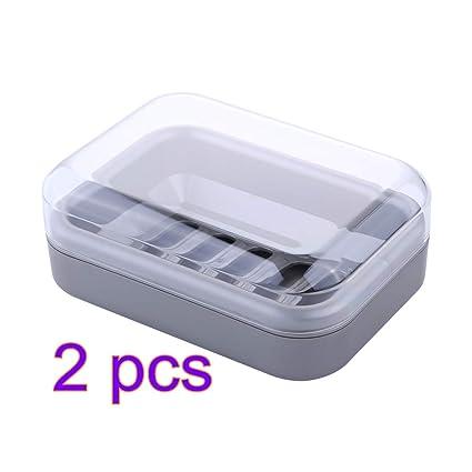 Reise Doppelschicht Seifenschale Halter Badezimmer Blattform Tablett Kunststoff