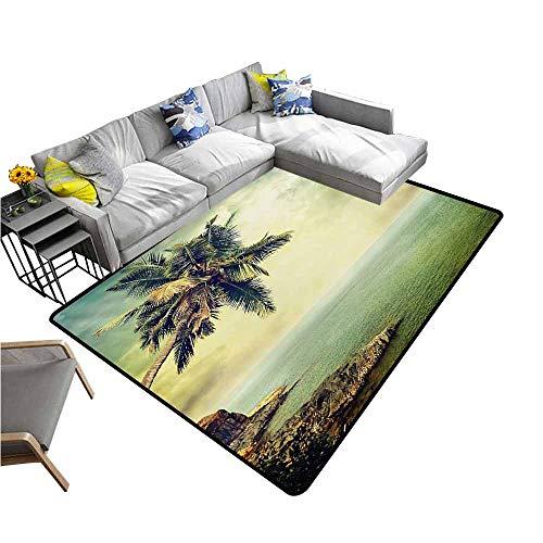Outdoor Kitchen Room Floor Mat Hawaiian,Palm Tree Rocky Shore Caribbean Mist Traveling Resort Scenic,Almond Green Pale Yellow Brown 64