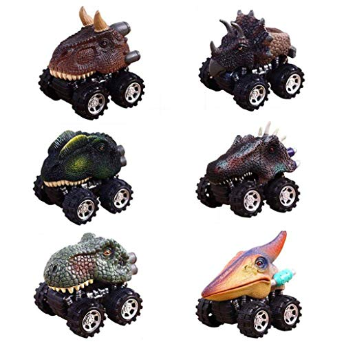 Gotian 6Pcs Children's Day Gift Toy Dinosaur Model Mini Toy Car Back of Car Kids Toys Birthday Presents for Children ()