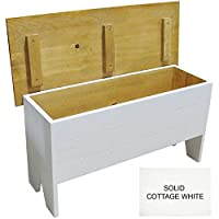 Wooden Storage Bench 3' long (Solid Cottage White)