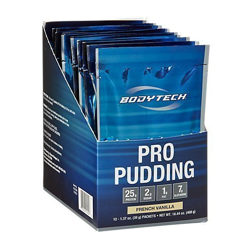 BodyTech Pro Pudding Protein with 25 Grams of Protein Simple OnTheGo Mix with Water Snack Protein Pudding Snack Vanilla (12 Packets)