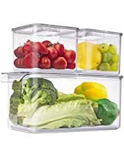 Yopay 3 Pack Food Storage Containers Fridge Produce Saver, Stackable Refrigerator Organizer with Removable Drain Tray and Lids, Keeper Drawers Bins Baskets for Fruits, Vegetables, Veggie, Berry, Clear