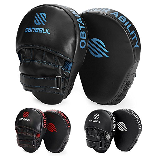 Sanabul Essential Curved Boxing MMA Punching Mitts (Metallic Blue)