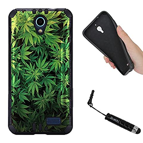 ZTE Z Five 2 , Avid Trio Case, BLACK Hybrid 2-Layer Shock Proof Rugged Armor Cover Case by URAKKI for ZTE Z Five 2 ZFIVE 2 (2017) , ZTE Avid Trio , ZTE Cheers [Weed Marijuana Camouflage] (Weed Zte Phone Cases)
